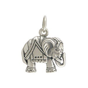 Sterling Silver Elephant Charm - Animal Charms 17x13mm