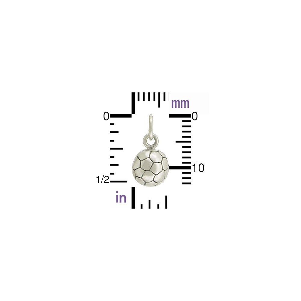 Sterling Silver 3D Soccer Charm - Sports Charms 13x7mm
