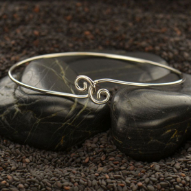 Sterling Silver Charm Bracelet - Twist Closure Large