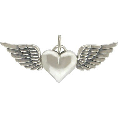 Sterling Silver Heart Charm with Wings 14x32mm
