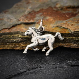 Sterling Silver Realistic Horse Charm 16x18mm