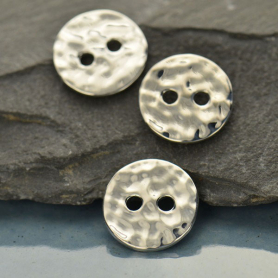 Sterling Silver Jewelry Button - Hammered Two Hole