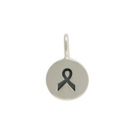 Sterling Silver Tiny Round Charm with Etched Ribbon
