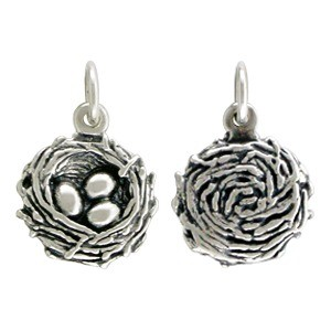 Sterling Silver Bird Nest Charm - Animal Charms