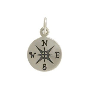 Sterling Silver Compass Charm 16x10mm