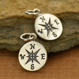 Sterling Silver Compass Charm -16mm