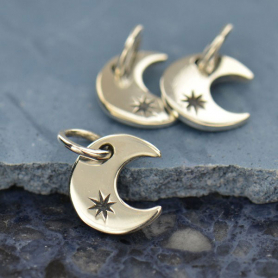 Sterling Silver Crescent Moon Charm 12x7mm