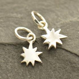 Sterling Silver Tiny Starburst Charm 12x6mm