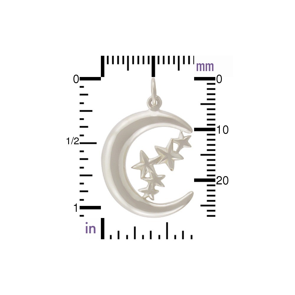 Sterling Silver Moon Charm with Stars 28x18mm