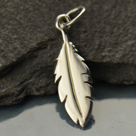 Sterling Silver FlatFeather Charm 22x6mm