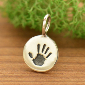 Sterling Silver Round Charm with Etched Hand Print 13x8mm