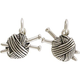Sterling Silver Ball of Yarn Charm - Hobby Charms 14x14mm