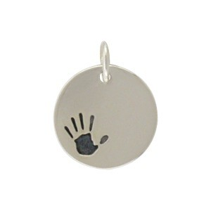 Sterling Silver Round Charm with Etched Handprint 16x13mm