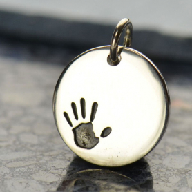 Sterling Silver Round Charm with Etched Handprint