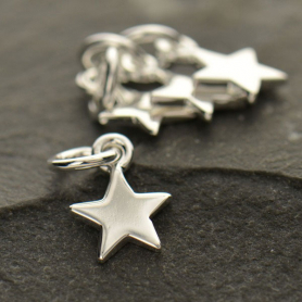 Sterling Silver Tiny Flat Star Charm -12mm