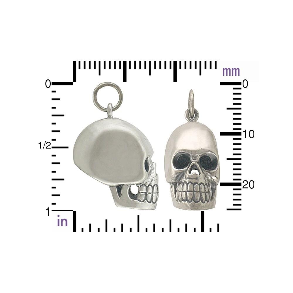 Sterling Silver Skull Pendant 26x10mm
