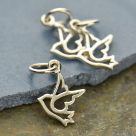 Sterling Silver Peace Dove Charm - Tiny