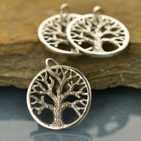 Sterling Silver Tree of Life Charm - Small - Textured