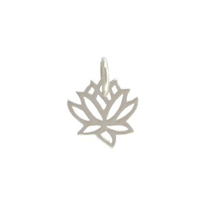 Sterling Silver Tiny Lotus Charm 12x9mm