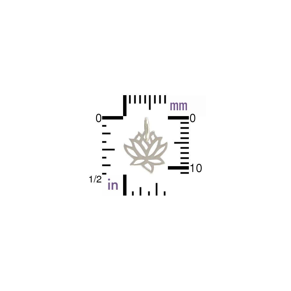 Sterling Silver Tiny Lotus Charm 12x9mm