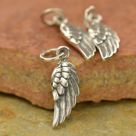 Sterling Silver Angel Wing Charm Right Side -20mm