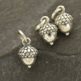 Sterling Silver Acorn Charm - Small 12x6mm