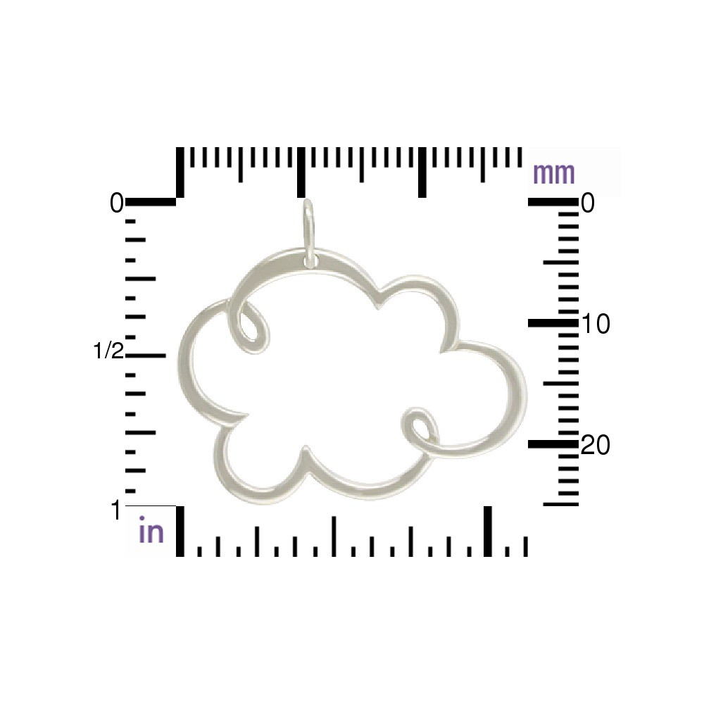 Sterling Silver Cloud Pendant 26x28mm