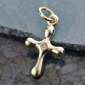 Sterling Silver Cross Charm with Genuine  Diamond 19x10mm