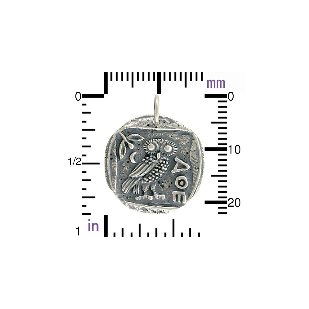 Sterling Silver Ancient Coin Charm - Athena's Owl 24x19mm