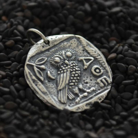 Sterling Silver Ancient Coin Charm - Athena's Owl