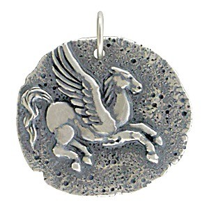Sterling Silver Ancient Coin Charm - Pegasus 24x22mm