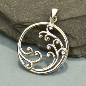 Sterling Silver Waves Pendant - Large - Openwork