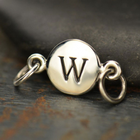 Sterling Silver Initial Charm Links - Letter W DISCONTINUED