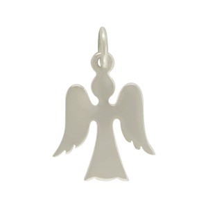 Sterling Silver Angel Charm - Christmas Charms 19x12mm