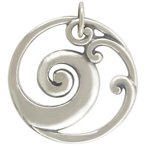 Sterling Silver Wave Pendant - Openwork