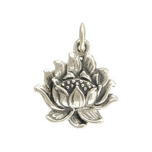 Sterling Silver Lotus Charm - Textured 18x14mm