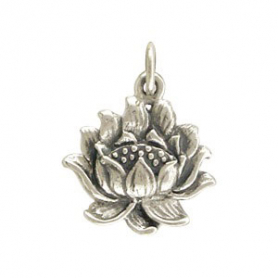 Sterling Silver Lotus Charm - Textured
