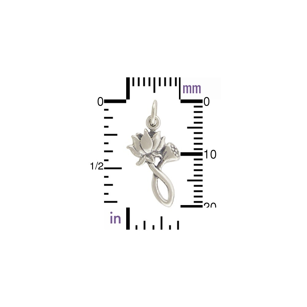 Sterling Silver Lotus Charm and Bud - Textured 21x10mm