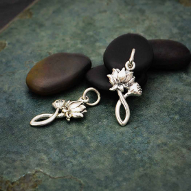Sterling Silver Lotus Charm and Bud - Textured