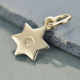 Sterling Silver Star of David Charm with Genuine Diamond