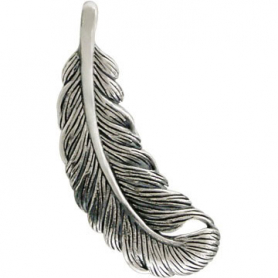 Sterling Silver Feather Charm 32x12mm