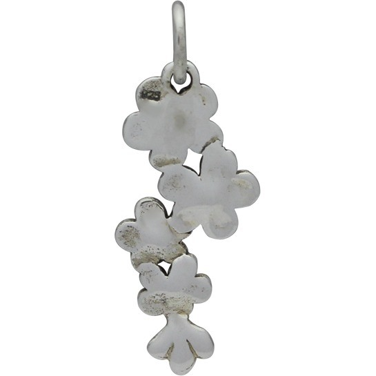 Sterling Silver Cherry Blossoms Charm 23x9mm
