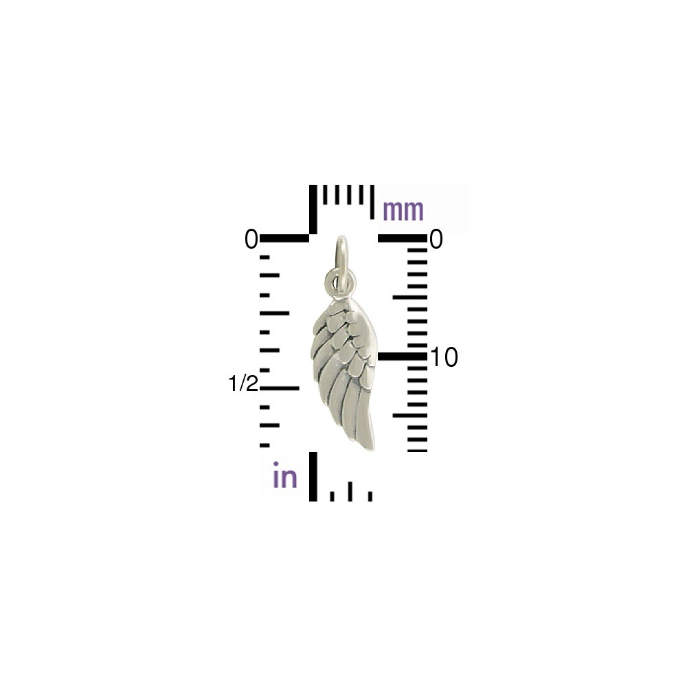 Sterling Silver Angel Wing Charm Left Side 20x6mm