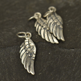 Sterling Silver Angel Wing Charm Left Side -20mm