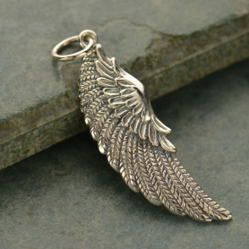 Sterling Silver Angel Wing Pendant - Large Left Side