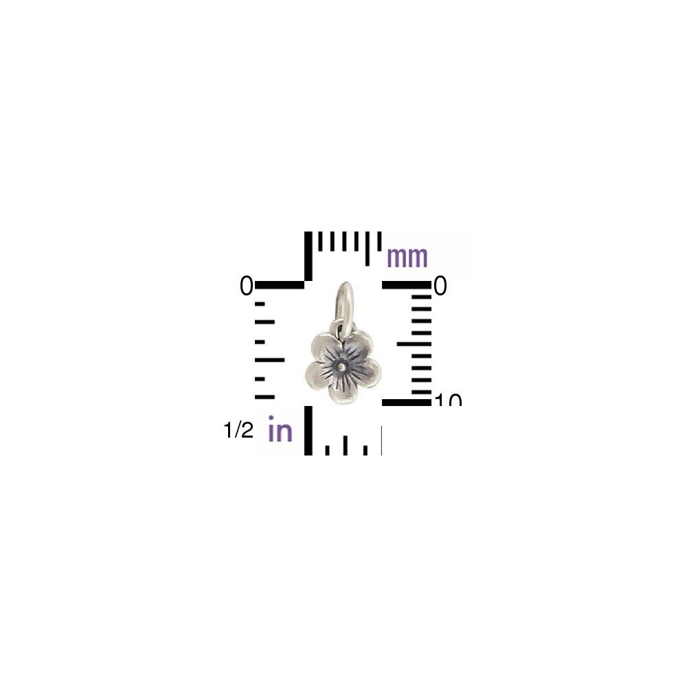 Sterling Silver Small Cherry Blossom Charm 11x7mm