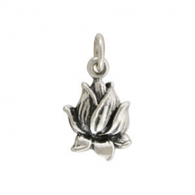 Sterling Silver Lotus Blossom Charm - Textured