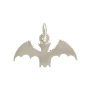 Sterling Silver Flat Bat Charm 13x17mm