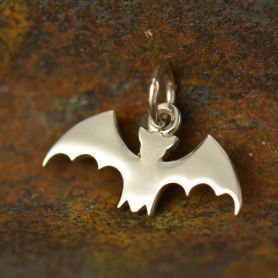 Sterling Silver Flat Bat Charm 13x17mm