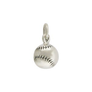 Sterling Silver 3D Baseball Charm - Sports Charms 13x7mm